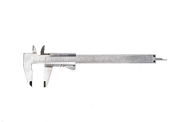 Vernier metal sliding caliper isolated on white background stock photo