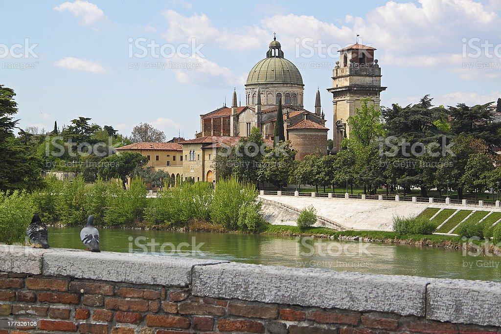 Verona along the river Adige, Italy royalty-free stock photo