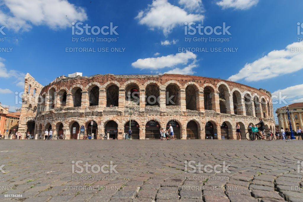 Verona Arena, Italy on a sunny afternoon in springtime - foto stock