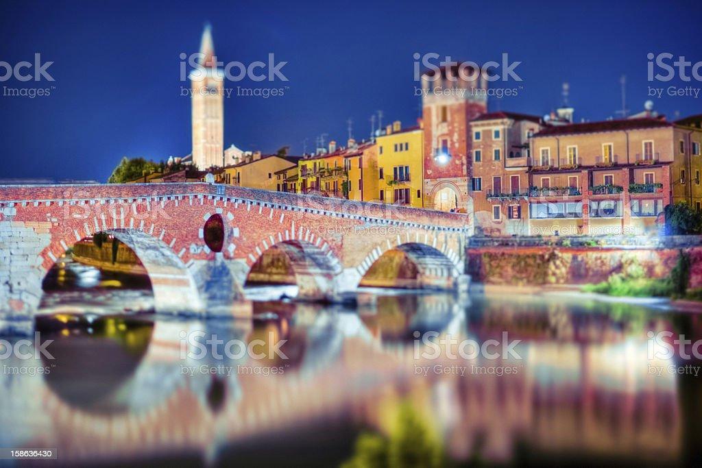 Verona by Night, Ponte Pietra, Italy royalty-free stock photo