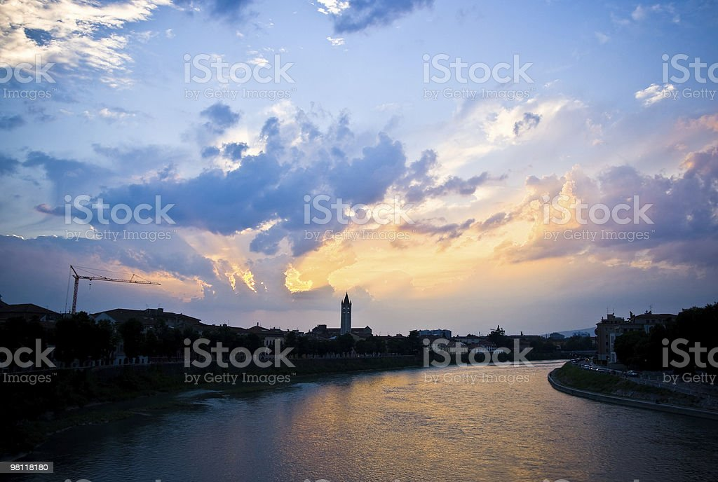 Verona by sunset royalty-free stock photo