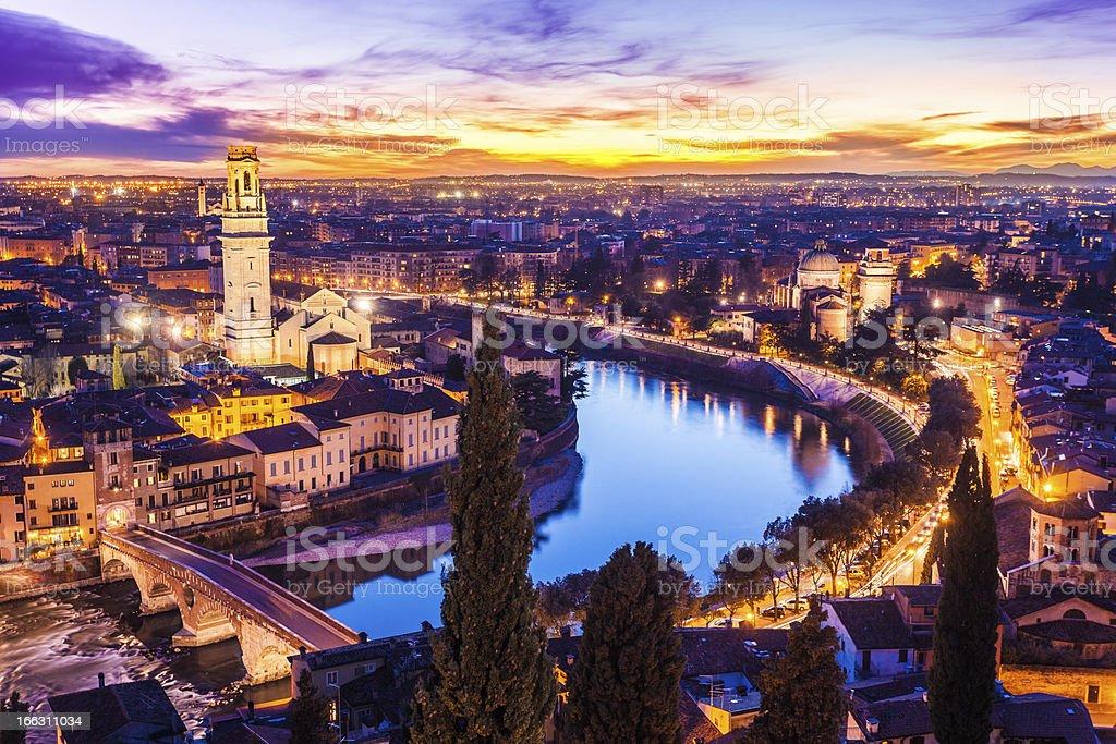 Verona Cityscape at Dusk, Italy stock photo