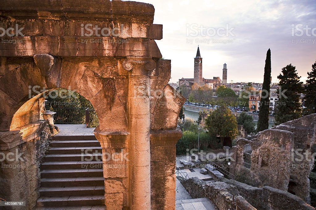 Verona Cityscape at Dusk, Italy stock photo