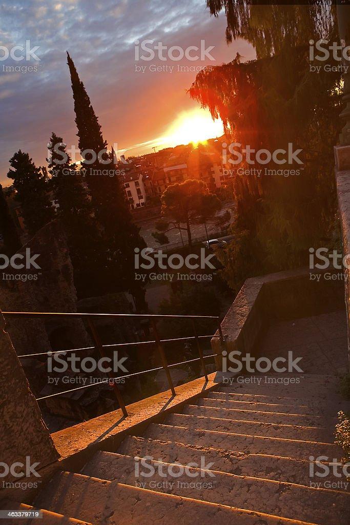 Verona Cityscape at Dusk, Italy royalty-free stock photo