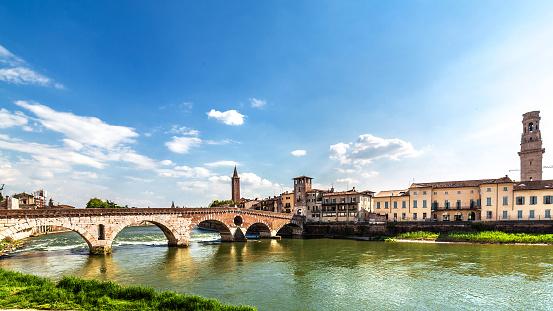 Verona cityscape. View of ancient medieval Ponte di Pietra