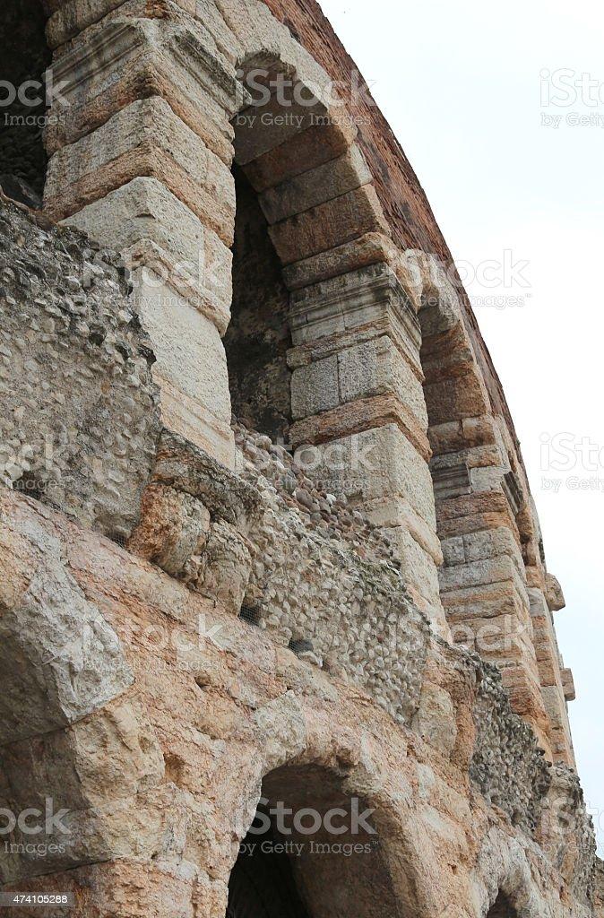 Verona, detail der Außenwände der Arena – Foto