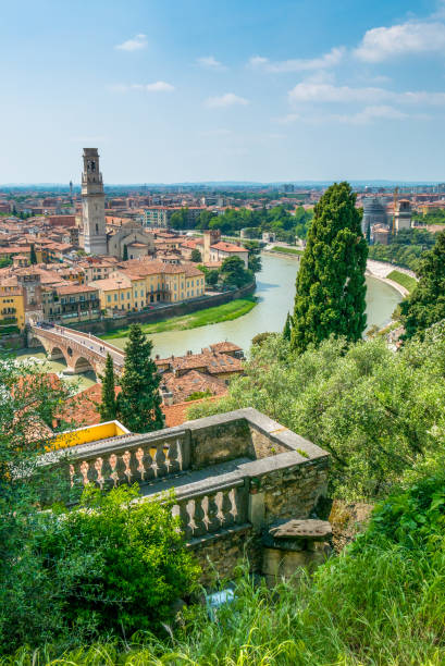 Verona from hill's point of view stock photo