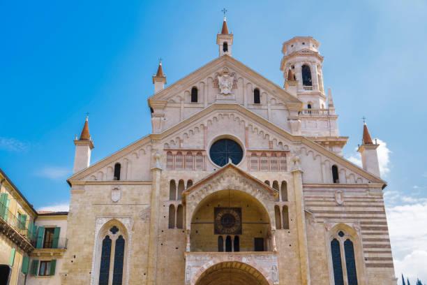 Verona, Italy Cathedral Duomo facade. stock photo