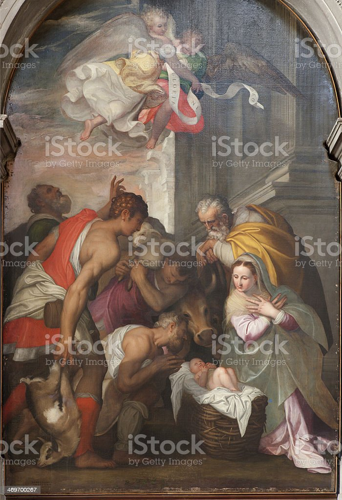 Verona - Nativity scene in San Bernardino church stock photo