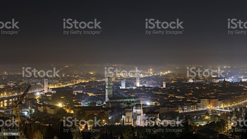 Verona,notturna,panorama stock photo