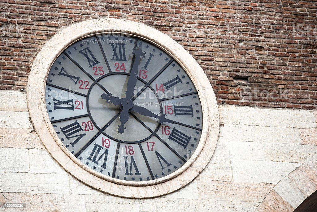 Verona, Piazza Bra Clock, Italy royalty-free stock photo