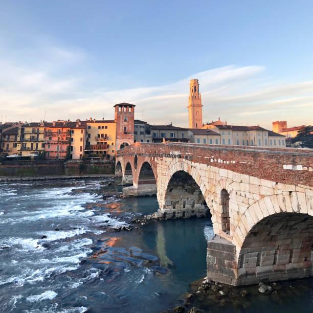 Verona. Ponte Pietra. stock photo