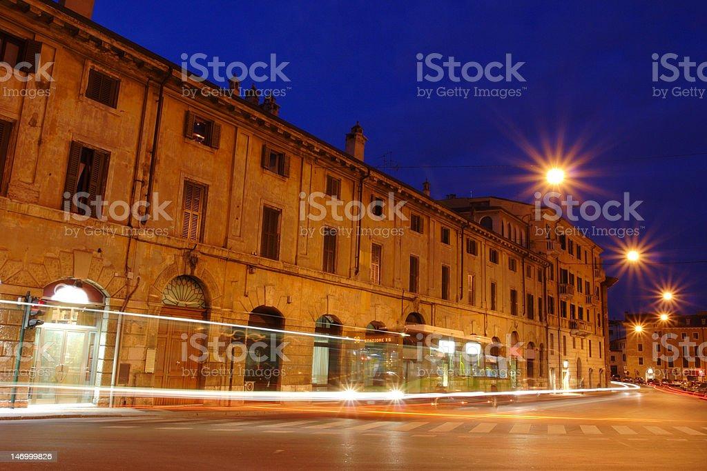 Verona street scene by night royalty-free stock photo