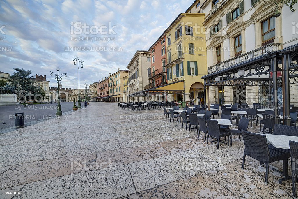 Verona-Italy: view of cafe and restaurant in Piazza Brà royalty-free stock photo