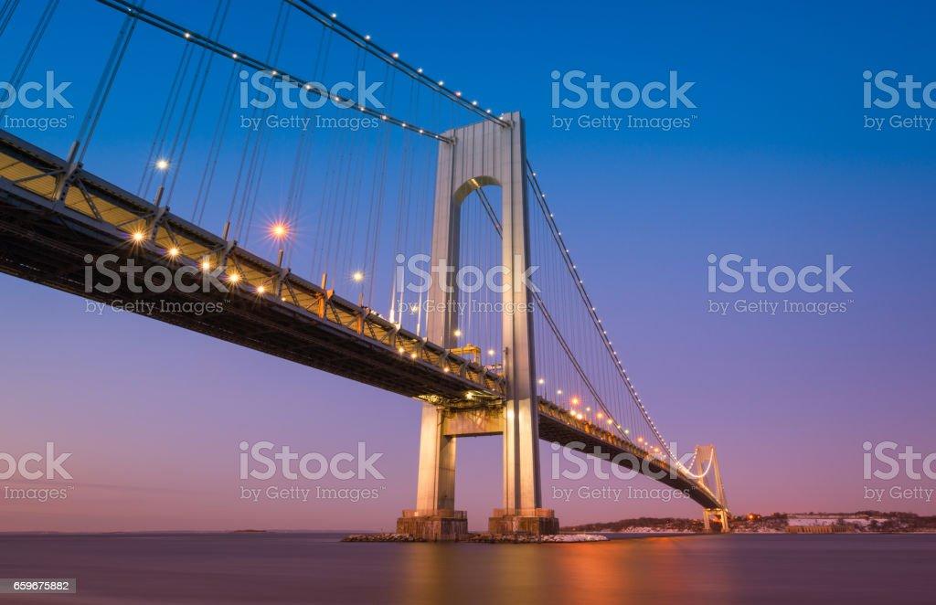 Verrazano Bridge at dusk stock photo
