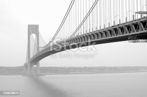 Verrazano Bridge in fog, black and white