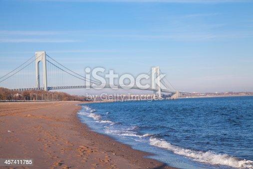 Verrazano Narrows Bridge in New York City. It connects Brooklyn with Staten Island.