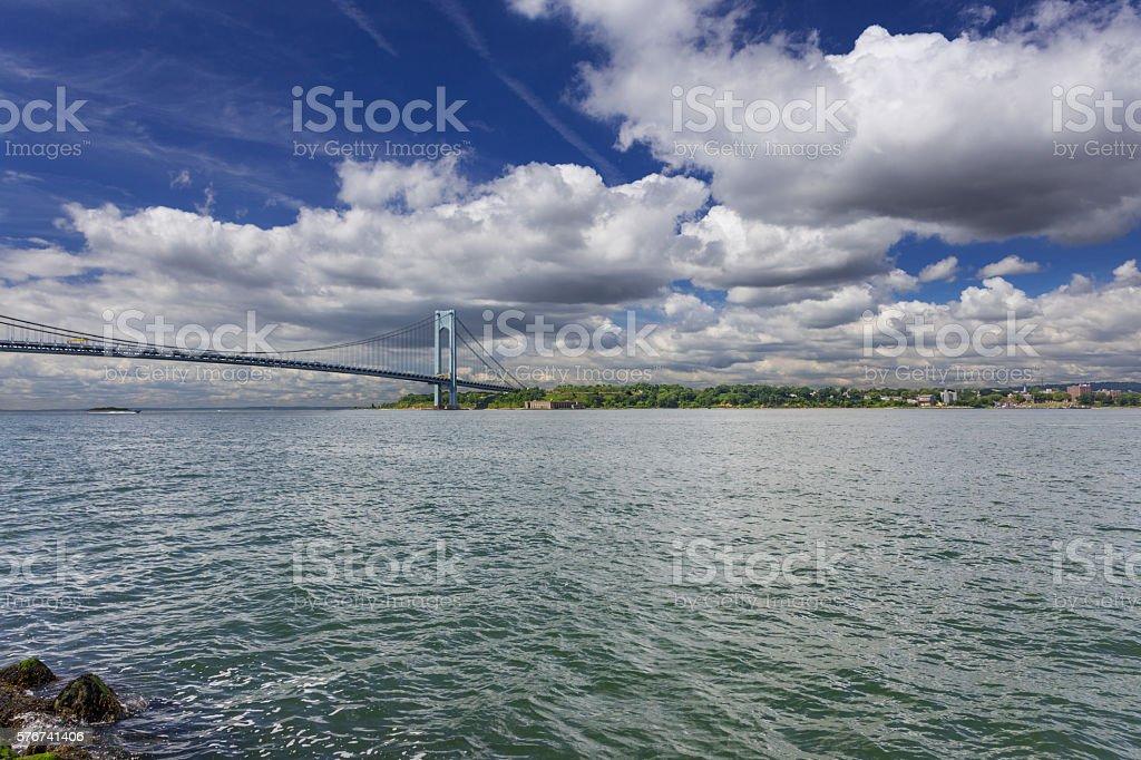 Verrazano-Narrows Bridge and dramatic blue sky, New York City. stock photo