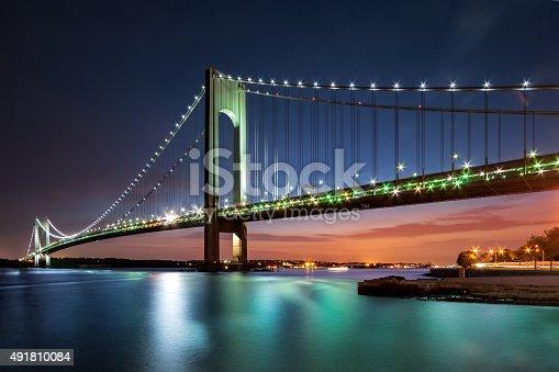 Verrazano-Narrows Bridge at dusk viewed from Brooklyn, New York City