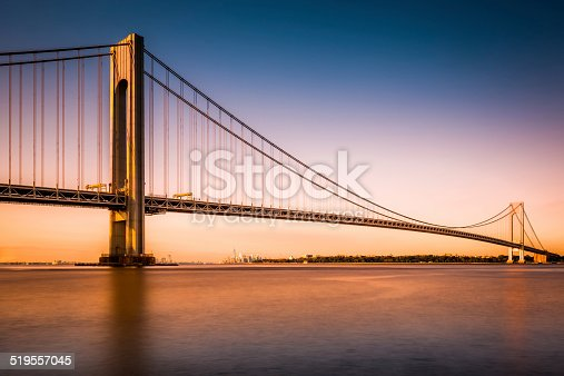 Verrazano-Narrows Bridge at sunset as viewed from Long Island