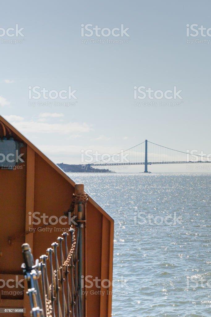 Verrazano-Narrows Bridge from Staten Island Ferry stock photo
