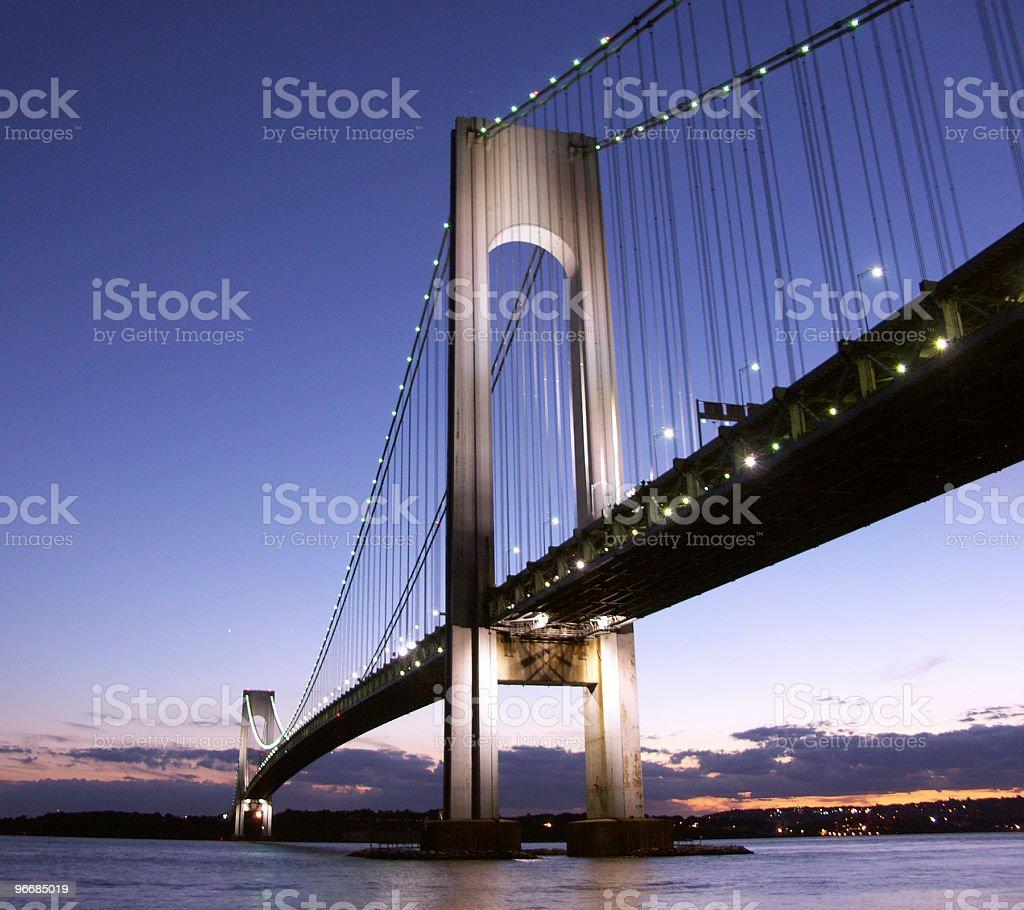 Verrazano-Narrows Bridge in night lights royalty-free stock photo