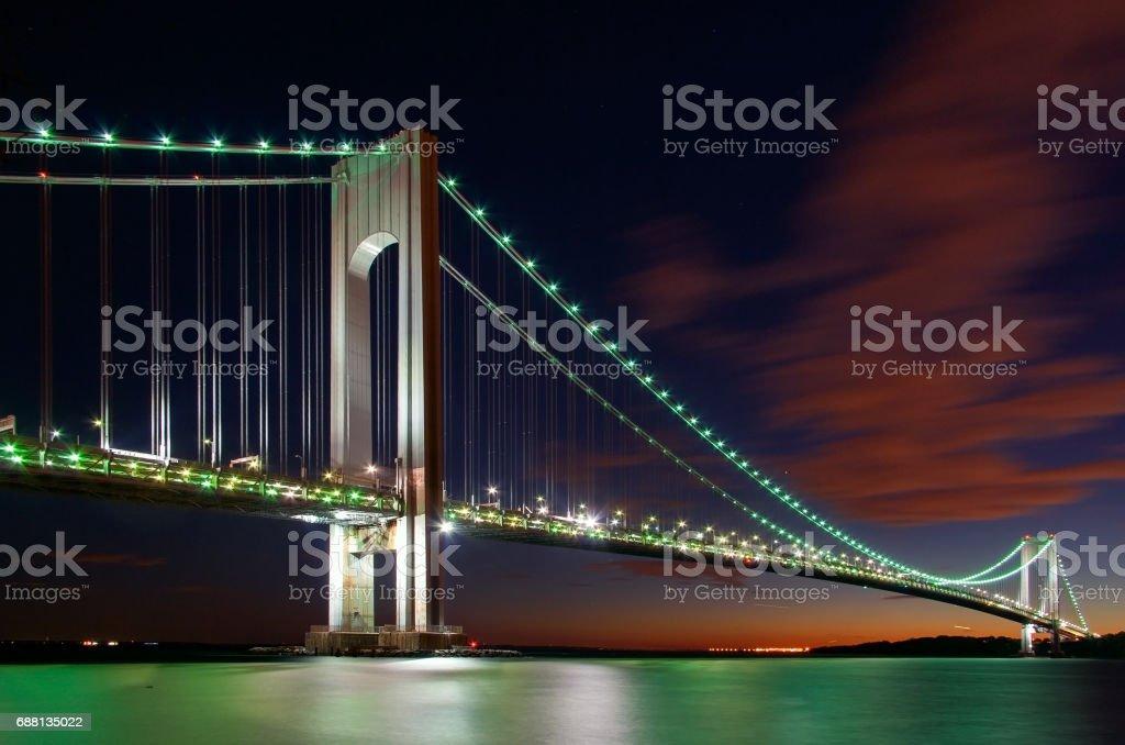 Verrazano-Narrows Bridge, New York at night stock photo