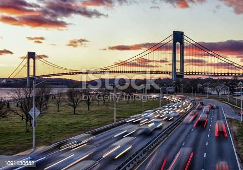 Sunset view of the Verrazno-Narrows Bridge at sunset