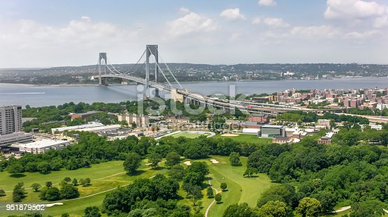 Aerial shot of the Verrazano-Narrows Bridge in New York. Shot in USA.