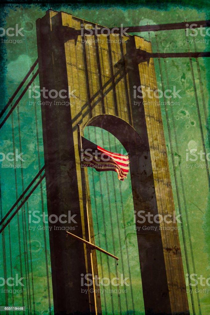 Verrazano-Narrows Bridge with Texture stock photo