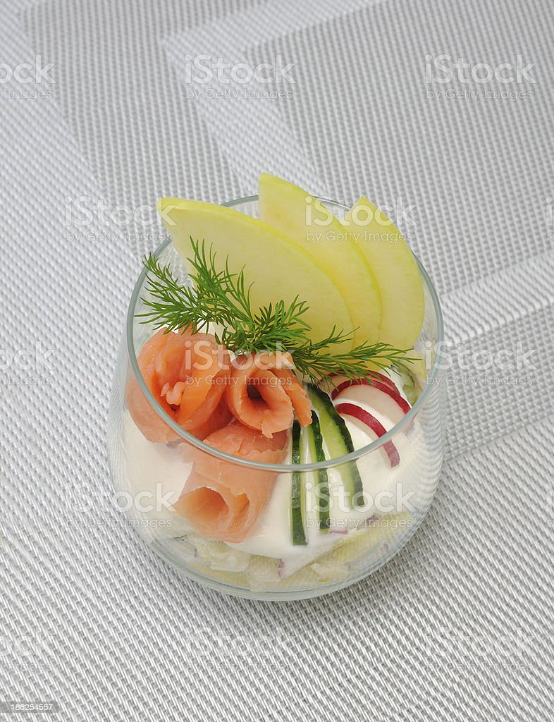Verrin with smoked salmon royalty-free stock photo