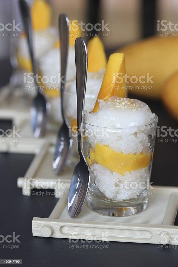 Verrine mango sticky (glutinous) rice stock photo