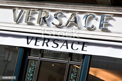 Venice, Italy - February, 21 2011: view of the Versace Store sign located in Venice.