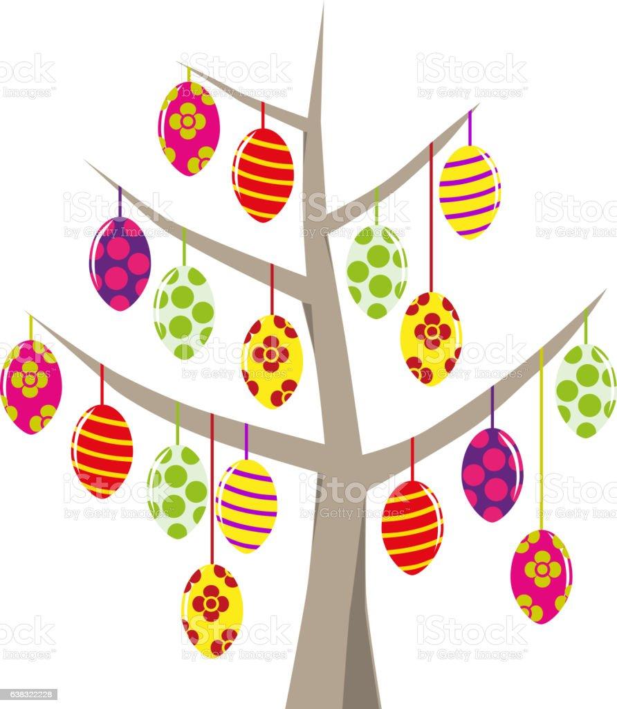 Verschiedene Ostereier am Baum aufgehängt stock photo