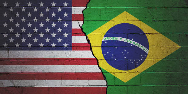 USA versus Brazil stock photo