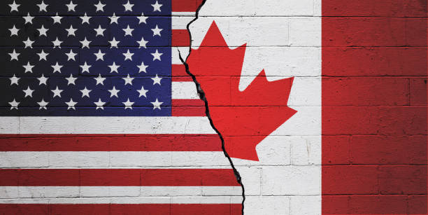 USA versus Canada stock photo