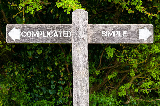 SIMPLE versus COMPLICATED directional signs stock photo