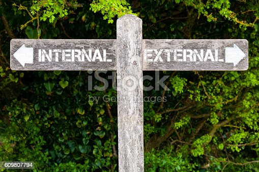 Wooden signpost with two opposite arrows over green leaves background. INTERNAL versus EXTERNAL directional signs, Choice concept image
