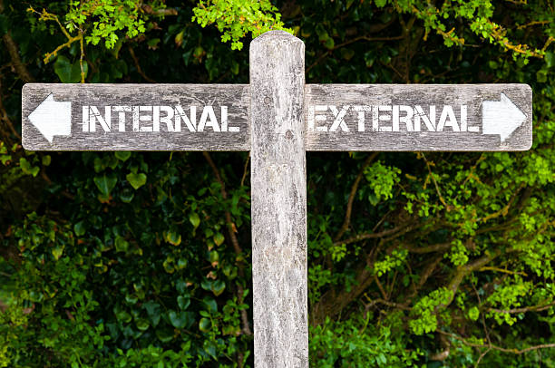 INTERNAL versus EXTERNAL directional signs - foto stock