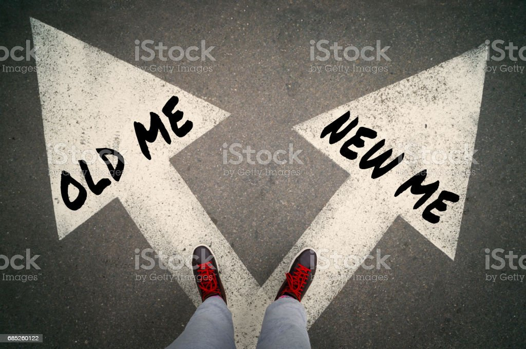 NEW ME versus OLD ME, dilemmas concept stock photo