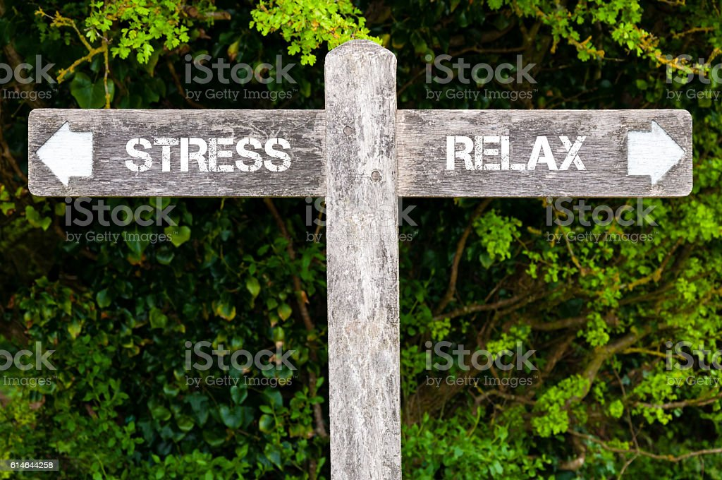 STRESS versus RELAX directional signs Wooden signpost with two opposite arrows over green leaves background. STRESS versus RELAX directional signs, Choice concept image Arrow Symbol Stock Photo