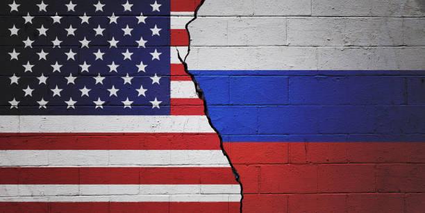 USA versus Russia stock photo
