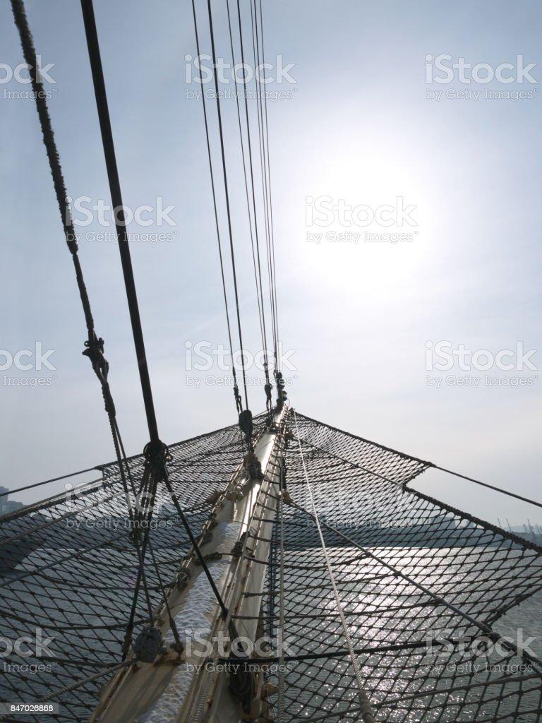 vertcisailing Ships bowsprit stock photo