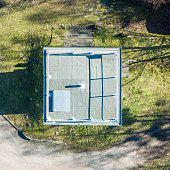 Vertical aerial photograph of a former watchtower at the inner-German border between the Federal Republic of Germany and the German Democratic Republic.