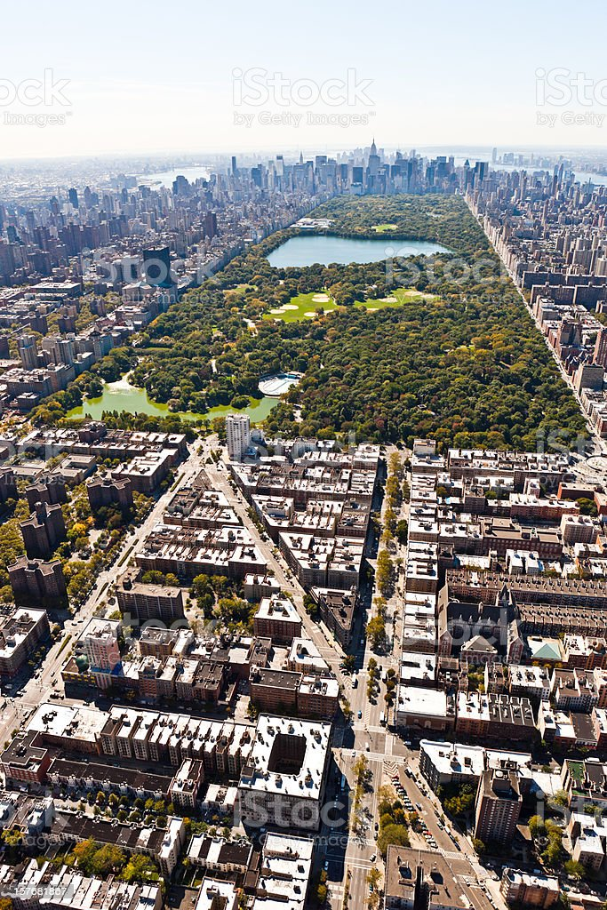 vertical aerial shot central park stock photo