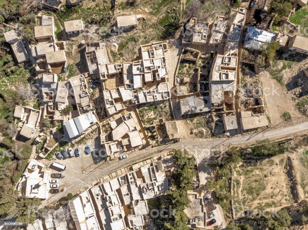 Vertical aerial view of Dana Village at the entrance of the biosphere reserve of the Dana Valley, north of Petra stock photo
