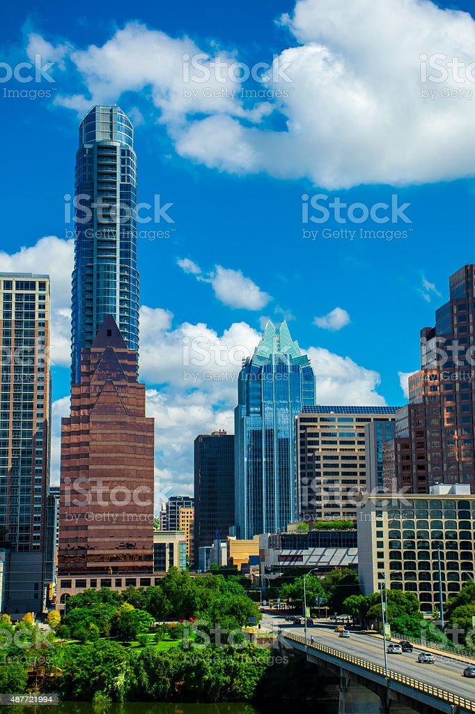 Vertical Austin Texas Skyline Overlooking Congress Avenue Bridge stock photo