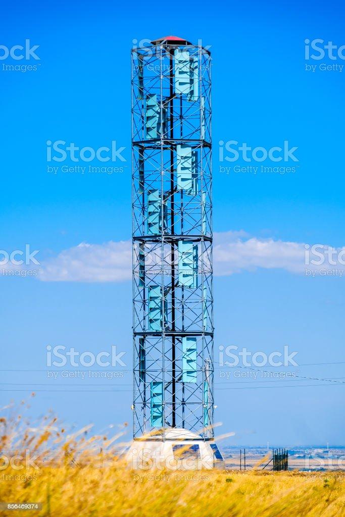 vertical axis wind turbines eolic energy renewable energy technology stock photo