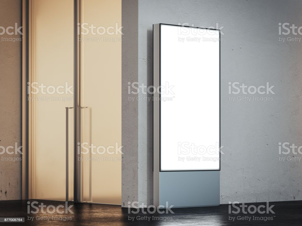 Vertical banner with bright screen in underground interior. 3d rendering stock photo