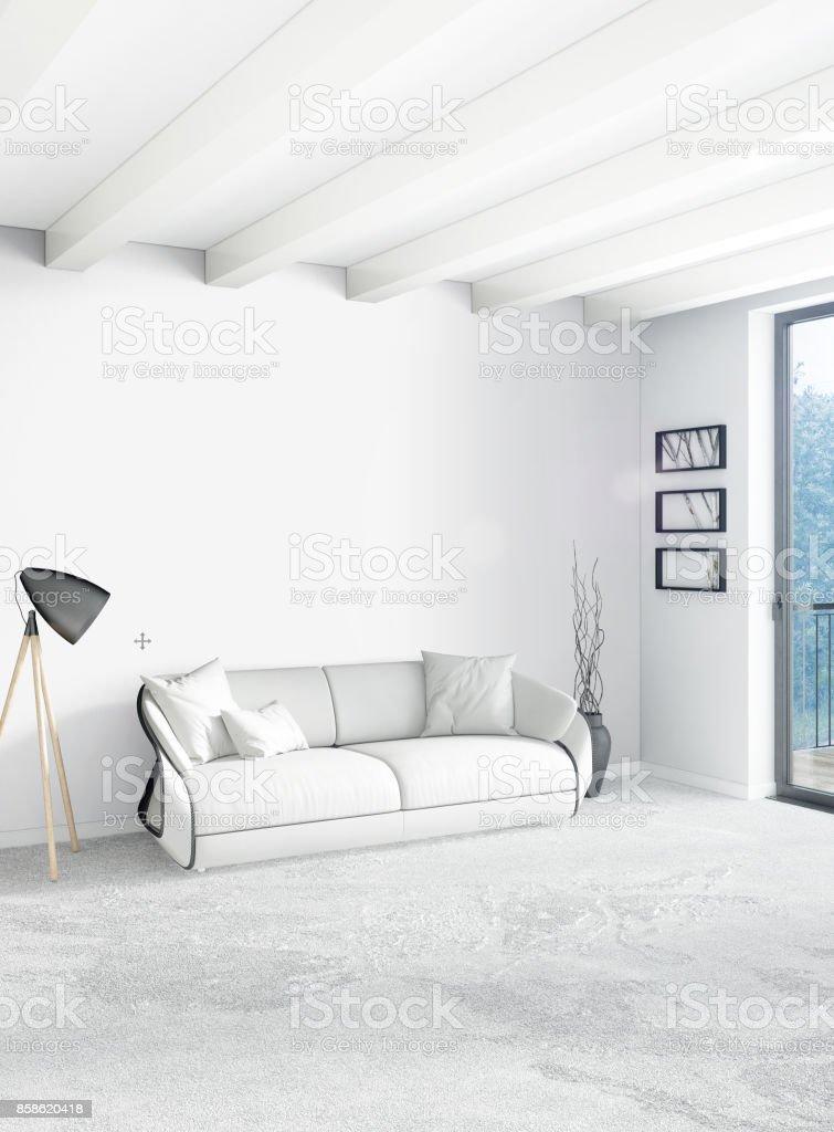 Vertical Bedroom Minimal or Loft style Interior Design. 3D Rendering. Concept idea. stock photo